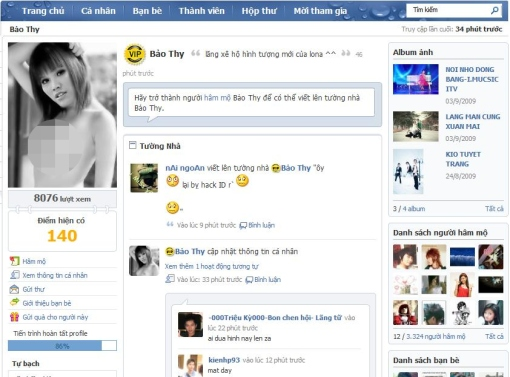 Kio band posts nude picture of bao thy onto zingme avatar